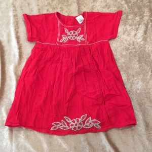 Zara Baby Cherry Red Button Back Embroidered Dress